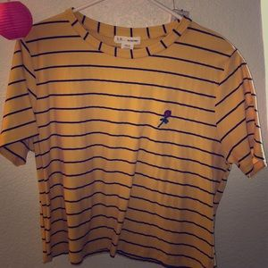 Yellow crop top with stripes